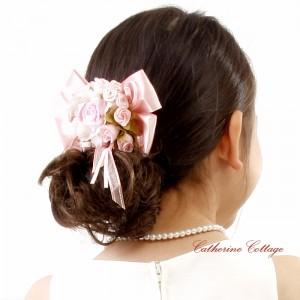 お花とリボンのコームでドレスアップ!