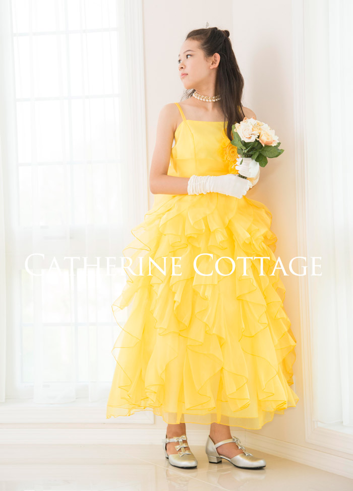 fb44b88a0b07f 主役級エレガントオーガンジードレープロングドレス 130~160cm